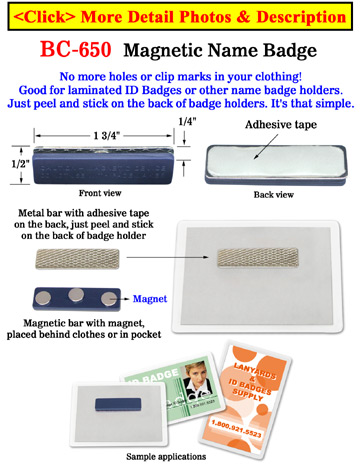 Magnetic Badge Holders, Name Tags and  ID Cards With 3 Strong Magnets