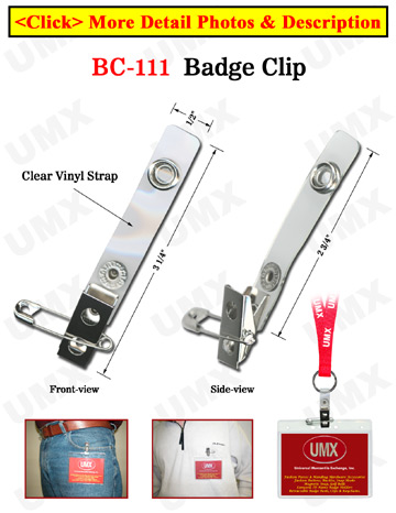 Extra Long Pin-On and Clip-On Name Badge Holder Straps with Metal Pins and Clips