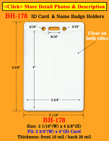 "Heavy Duty Vertical School ID Holders: 2 3/4""(W)x 4""(H)"