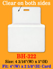 "Thick &  Heavy Duty Top Loading ID Card Holder: 4""(W)x 2 5/8""(H) BH-322/Bag-of-100Pcs"