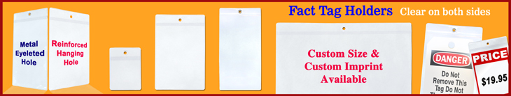 Plastic Fact Tag Holders, Vinyl Price Tag Holders For Shelves, Job ticket Sleeves and Product Pricing Tag Pouches