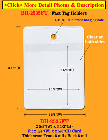 Plastic Pricing Tag Holder With Reinforced Hanging Hole