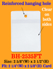 Low Cost Plastic Pricing Tag Holder With Reinforced Hanging Hole BH-2535FT/Per-Piece