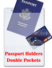 Passport Holders: Neck Wallets - Double Pockets - Heavy Duty Vinyl Plastic Big Name Badge Ticket Holders BH-5782/Per-Piece