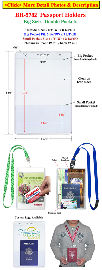 Passport Holders: Neck Wallets - Double Pockets - Heavy Duty Vinyl Plastic Big Name Badge Ticket Holders