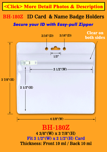 Horizontal Zipper Badge Holder Fit Credit Size ID Cards