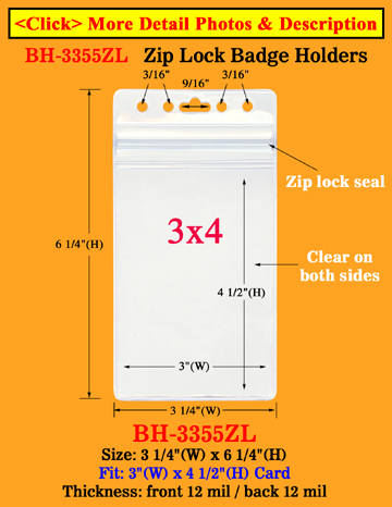 "Dust Protected Zip-Lock_Sealed ID Badge Holders: Fit 3""(w)x4""(h) Cards"