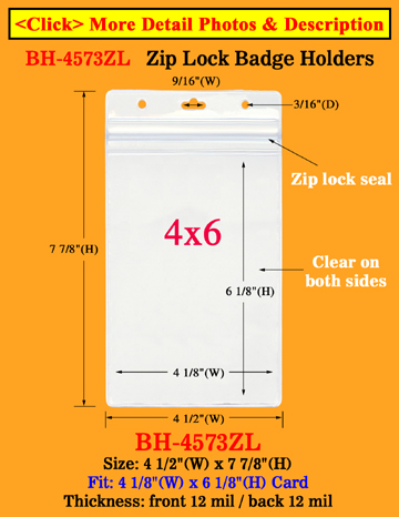 "Zip-Lock Ticket Holder: Fit 4""(w)x6""(h) Ticket or Name Badge"