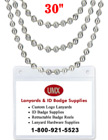 "Ball Chains: Wholesale 30"" Nickel Color Metal Beaded Chain Lanyards LY-701/Per-Piece/Nickel-Color"