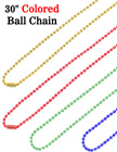 "Ball Chains: 30"" Gold, Red, Blue and Green Color Metal Neck Chain Lanyards"