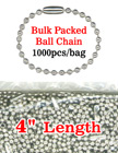 "4"" Bulk Packed Ball Chains: Wholesale Bulk Order Metal Bead Chain Nickel Color"