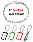 "Bag Tag Chains: Wholesale 4"" Nickel Color Key Tag Ball Chains LY-704/Bag-of-10Pcs/Nickel-Color"