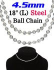 "Large Ball Chain Necklaces: 4.5mm(D)x18""(L) LY-7045-18/Per-Piece"