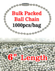 "6"" Bulk Order Wholesale Ball Chains: Bulk Packed Metal Bead Chains Nickel Color LY-706BP/Bag-of-1000pcs"