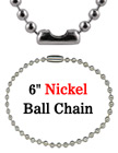 "Luggage Tag Ball Chains: Wholesale 6"" Nickel Color Luggage Name Tag Chains LY-706/Bag-of-10Pcs/Nickel-Color"