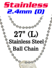 "Stainless Steel Ball Chain Necklace 2.4mm by 27"" Long LY-7024S-27/Per-Piece"