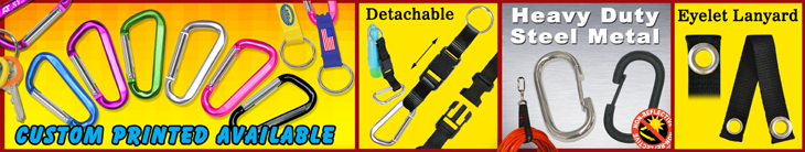 Carabiner Keychain Lanyards, Heavy Duty Metal Carabiners For Non-Reflective Industrial or Military Applications