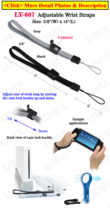 Plastic Cam Buckle Adjustable Wrist Straps: For Small Devices, Cell Phone or Tools