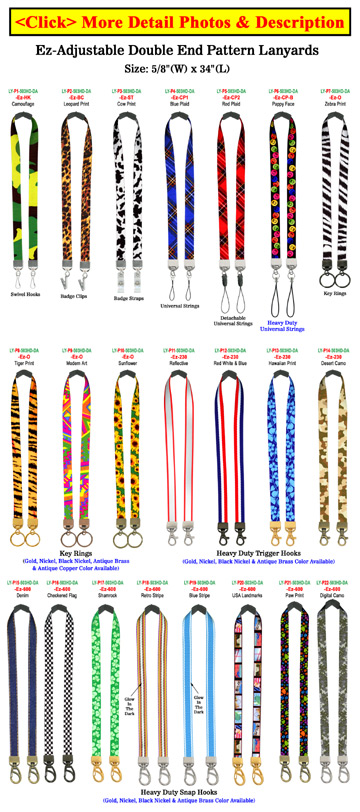 "5/8"" Ez-Adjustable Double Ended Art Printed Safety Neck Lanyards With Dual Ends"