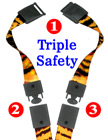 "5/8"" Ez-Adjustable Art Printed Triple Safety Neck Lanyards With Three Safety Protection"