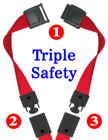 "5/8"" Ez-Adjustable Triple Safety Neck Lanyards With Three Safety Breakaway Buckles"