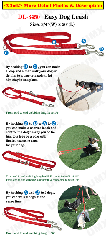 Premium Dog Leash with Two Easy Hooks