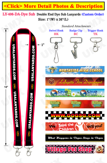 Big Promotional Lanyards With 2 Ends and Dye Sub Custom Printed