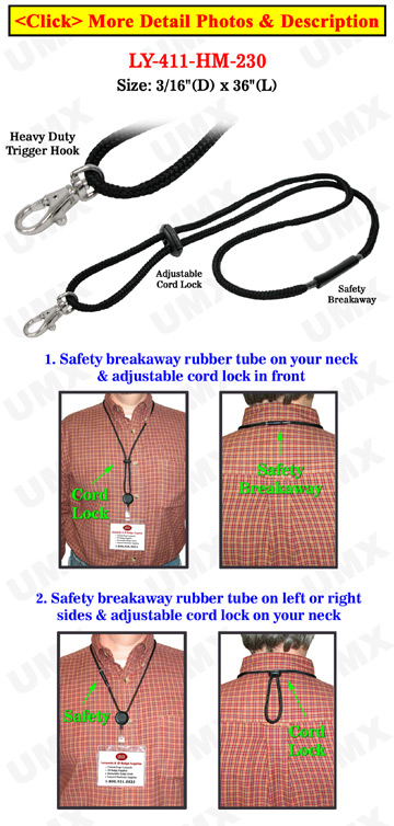 Heavy Duty Round Cord Safety Lanyards with Trigger Hooks