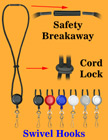 Retractable Safety Round Cord Lanyards With Metal Swivel Hooks LY-411-RT-04/Per-Piece