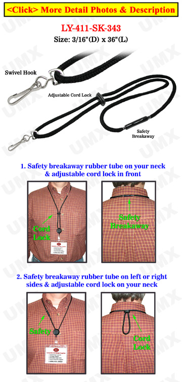 Safety Name Badge Holder Lanyards with Swivel Hooks