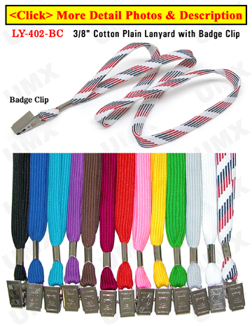 "LY-402-BC 3/8"" Cotton Shoe String Plain Color Lanyards With Badge Clip Attachment"