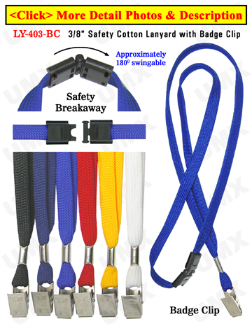"LY-403-BC 3/8"" Safety Breakaway Blank Lanyards With Badge Holder Clips"
