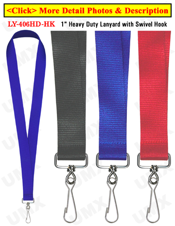 "LY-406HD-HK 1"" Wide & Thick  Heavy Duty Plain Lanyards with J-Hooks"