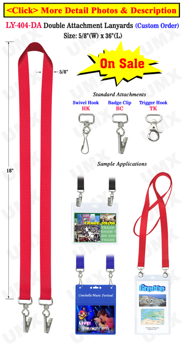 "5/8"" Exhibition Lanyards with Two Badge Clips or Hooks"