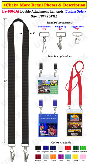 "1"" Big Sports Ticket Lanyards With Two Heavy Duty Hooks or Badge Clips"