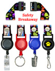 "Printed Retractable Breakaway Lanyards: with 3/4""  Pre-Printed Neck Straps"
