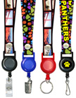 "Retractable Identification Holder Lanyards: With 3/4"" Art Printed Neck Straps"