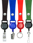 "Retractable Name Holder Lanyards: with 3/4"" Snap Closure Plain Color Neck Lanyard Straps"