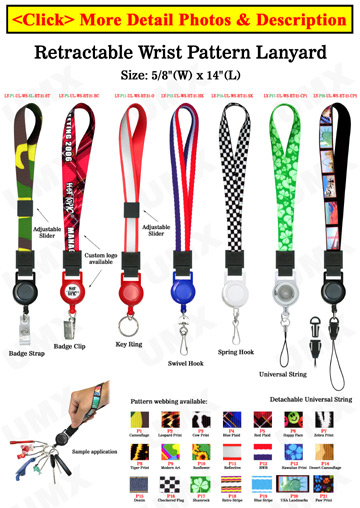 "Printed Retractable Wrist Lanyards: With 5/8"" Art Printed Wrist Straps"
