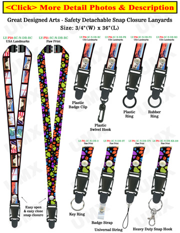 "Quick Release Safety Lanyards: 3/4"" Pattern Printed Quick Release Safety Neck Straps"