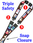 "Secured ID Lanyards: 3/4"" Pattern Printed Secured Identications, Safety ID Neck Straps"