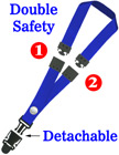 "Detachable Two Breakaway Lanyards: 3/4"" Safety Neck Straps: Snap Fastener ID Tag Holders"