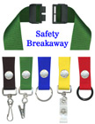 "Single Breakaway Lanyards: 3/4"" Safety Neck Straps: Snap Closure ID Holders"