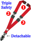 "Detachable Three Safety Lanyards: 3/4"" Multiple Breakaway Neck Straps: Snap Fastener Badge Holders"