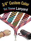 "3/4"" Tri Tone USA Flag Pattern Custom Color Lanyards LY-S5-34-CUSTOM/Per-Piece"