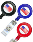 USA Flag Badge Reels: Retractable Name Badge Holders RT-01-USA-FLAG/Per-Piece