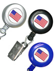 American Flag Retractable ID Badge Holders With ID Badge Clips