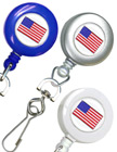 Patriotic Retractable Badge Reels With Swivel Hooks