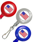 USA Flag Retractable ID Card Holders With Spring Hooks RT-05-USA-FLAG/Per-Piece