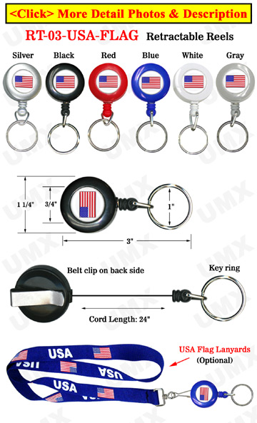 USA Flag Retractable Keychains: Patriotic Key Chain Reels
